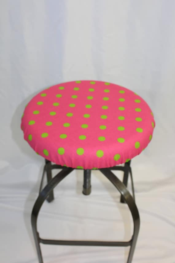 Fabulous Fitted Elasticized Round Bar Stool Vanity Stool Or Counter Stool Cover Hot Pink With Green Polka Dots Fits 13 15 Diameter Seat Short Links Chair Design For Home Short Linksinfo