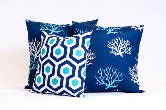 Outdoor Pillows Coral Throw Pillow Removable Toss Pillow   Etsy