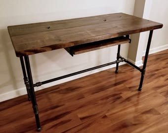 Steel and Wood Desk with Keyboard Tray