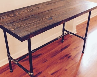 Steel And Wood Desk   Office Iron Pipe Desk