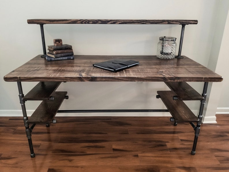 Steel and Wood Desk  Office Iron Pipe Desk with 4 Desk image 0