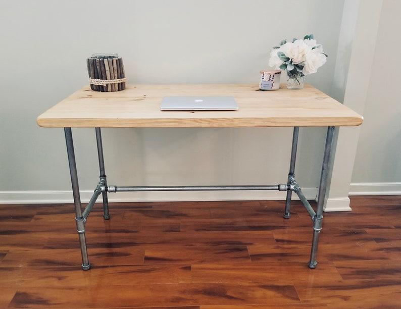 Steel and Wood Galvanized Steel Desk image 0