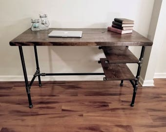 Steel and Wood Desk - Office Iron Pipe Desk with 2 Shelves