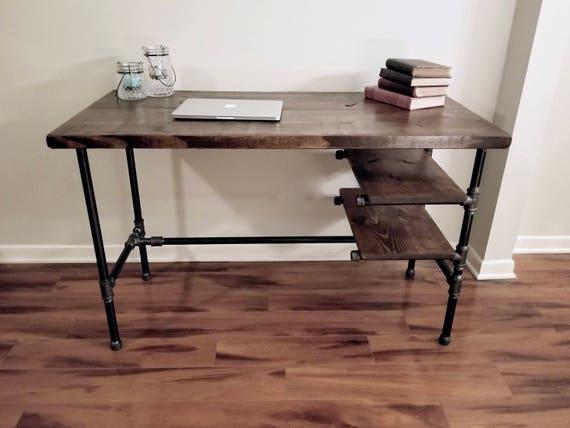 En acier et bois bureau bureau fer tuyau avec étagères etsy