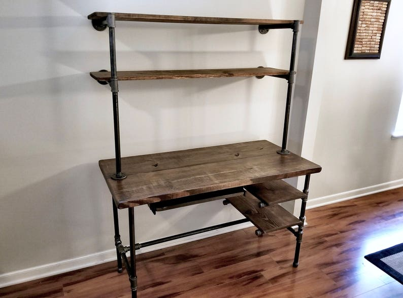 Steel and Wood Desk  Office Iron Pipe Desk with Keyboard Tray image 0
