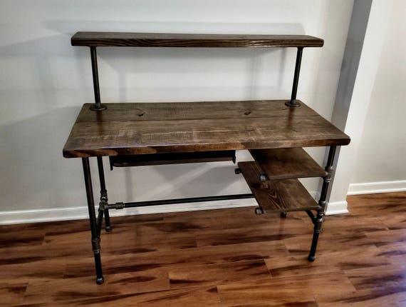 En acier et bois bureau fer pipe bureau avec plateau de etsy