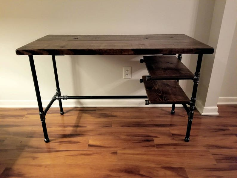 Free Shipping Office Iron Pipe Desk with 2 Shelves Steel and Wood Desk