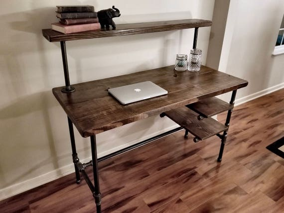 Steel And Wood Desk Office Iron Pipe Desk With 2 Desk Etsy
