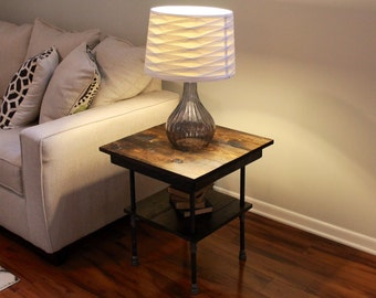 Steel and Wood Side Table - Free Shipping
