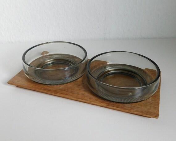 Mid century oak snack set
