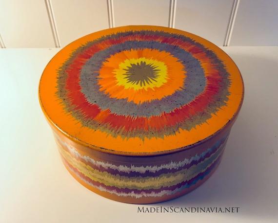 Vintage Anita Wangel IRA Denmark Orange Round Cake Tin