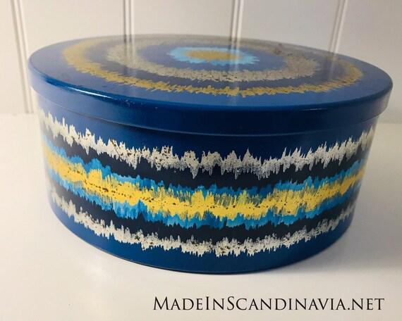 Vintage Anita Wangel IRA Denmark Blue Round Cake Tin