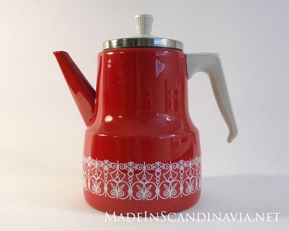 Vintage coffee pot in red & white enamel