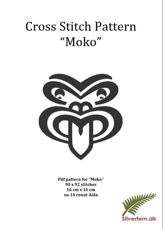 """Simple yet elegant cross stich pattern of a beautiful Maori style """"Moko"""" (large size)"""