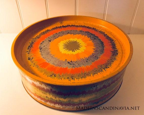 Vintage Anita Wangel IRA Denmark Orange Round Cake Tin - X-Large