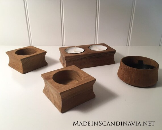 Trip Trap set of teak tealight holders or salt and pepper cellars