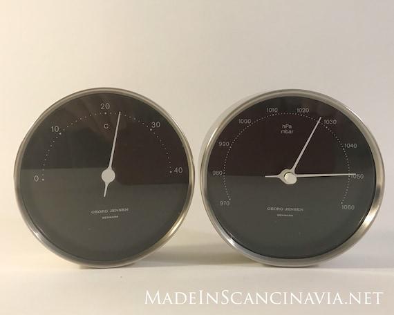 Georg Jensen KOPPEL Barometer and Thermometer steel/black 10 cm