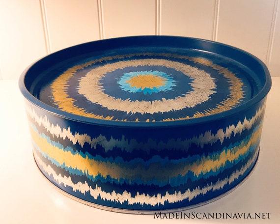 Vintage Anita Wangel IRA Denmark Blue Round Cake Tin - X-Large