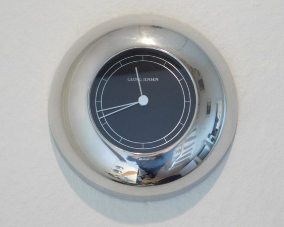 Georg Jensen LUNA clock pewter/black