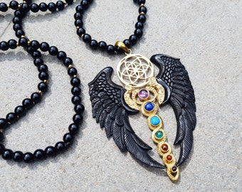 Priestess Black Wings - Flying Kundalini Chakra Energy and Seed Of Life on Black Onyx Beads - Cast from Brass with Black Horn Wings