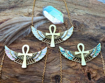 Ankh Necklace - Premium - Brass - Abalone, Pink Mother of Pearl or Golden Mother of Pearl Shell - Ancient Egyptian - Feather Tribe