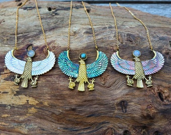 Horus Necklace - Premium - Brass - Abalone, Pink Pearl or Golden Pearl Shell - Moonstone -Labradorite - Ancient Egyptian - Feather Tribe