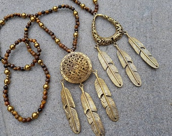 Sun-Worshipper Necklace/Brass Pendant with Feathers on Tiger's Eye and Golden Hematite Beads- Bohemian style - Feather Tribe