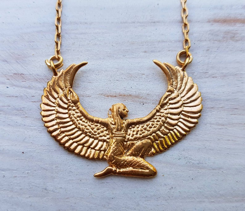 Small Gold Dipped Isis Necklace  Auset Egyptian Goddess  image 0