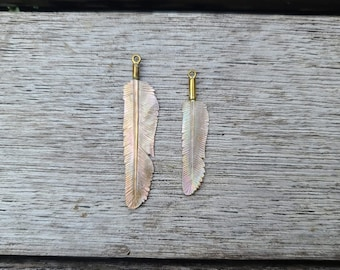 Pink Pearl Flight Feather Necklace - Hand-Carved Shell Pendant - with Brass - Size: Mini or Super Mini - Feather Tribe