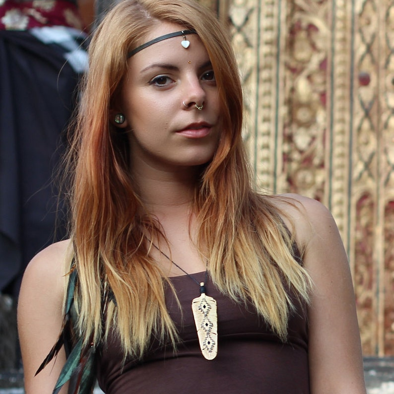 Medium Chakana Feather Necklace Pendant Sandalwood  Hand image 0