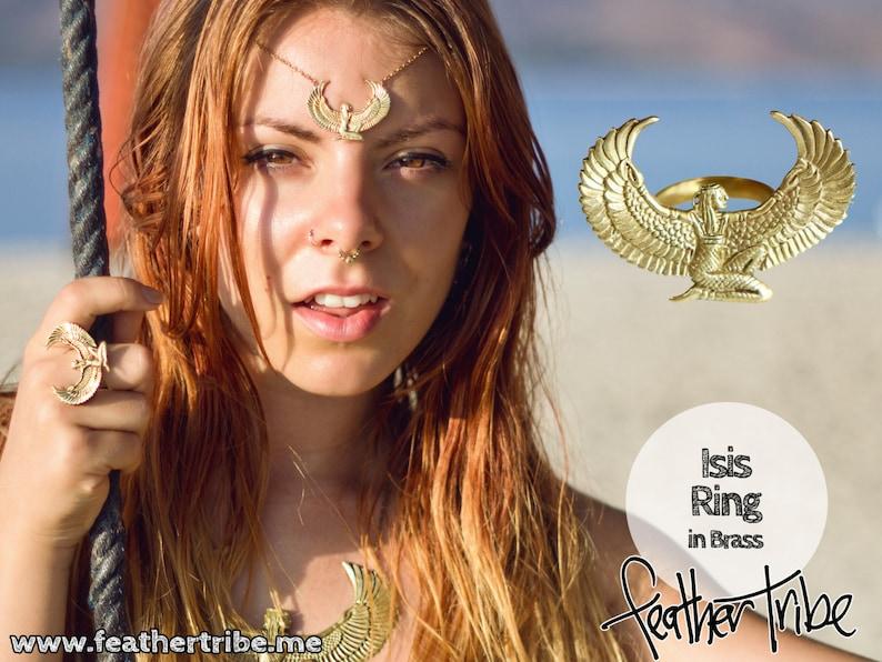 Brass Isis Goddess Ring Auset Egyptian Goddess Adjustable image 0