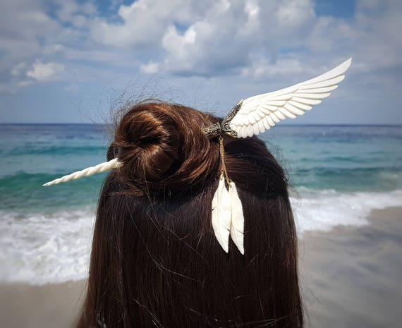 Feather Tribe Hand Carved Black Horn Hair Stick Unicorn Pegasus Hair Stick Brass Filigree Finish with Feathers Angel Wing Hair Stick