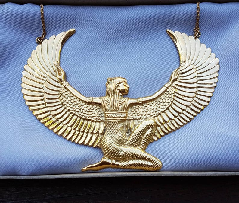 Large 24Ct Gold Dipped Isis Goddess Necklace  Auset Egyptian image 0