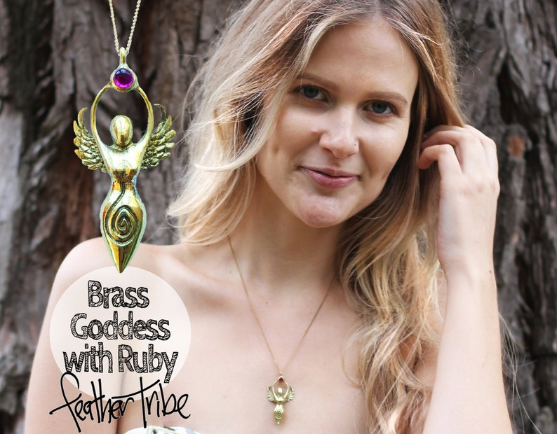 Goddess necklace Angel Necklace  Hand Cast Brass with Ruby image 0