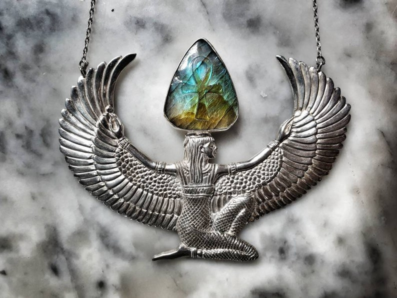 Large Silver Filled Isis Goddess Necklace with LABRADORITE image 0