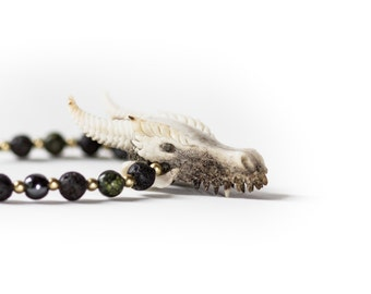 Dragon Skull Pendant - Hand Carved Naturally Shed Antler Necklace - Lava Stone, Serpentine and Hematite Beads - Feather Tribe