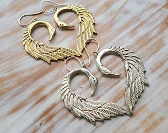 Swan Earrings - Golden Brass or Silver Filled - Feather Tribe