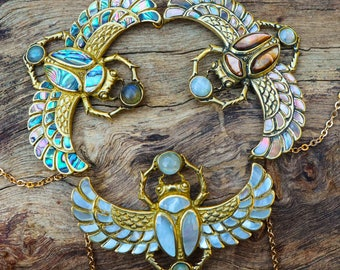 Cleopatra Scarab Necklace - Premium - Brass - Shell - Moonstone - Labradorite - Ancient Egyptian - Feather Tribe