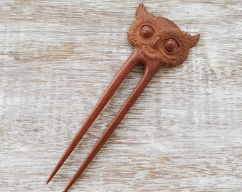 Owl Hair Stick - Spirit Bird Hair Stick - Hand Carved Rosewood - Hair Accessory - Free Gift Box - Feather Tribe