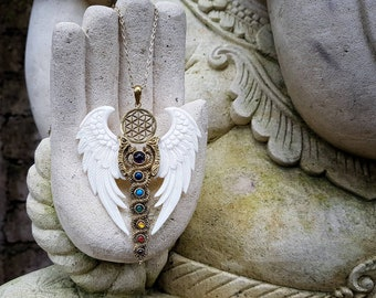 Priestess Necklace - Flying Kundalini Energy with Flower Of Life - Cast from Brass - Black Horn or White Bone Wings