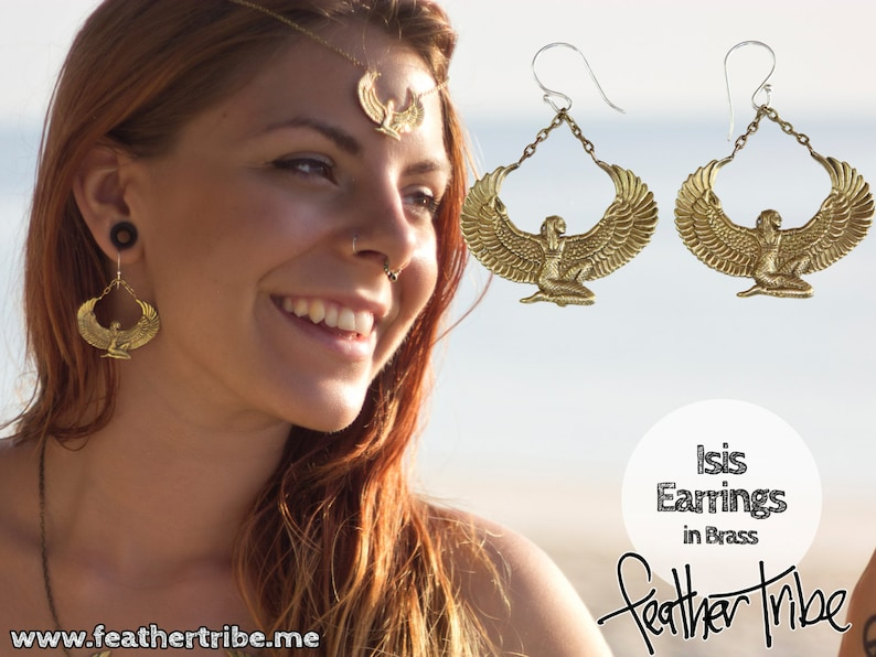 Brass Isis Goddess Earrings  Auset Egyptian Goddess  Ancient image 0