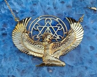 Medium Metatron Isis Necklace - PREMIUM - 24 Ct Gold Dipped - Auset Maat Egyptian Goddess - Spiritual Jewellery - Hieroglyph - Feather Tribe