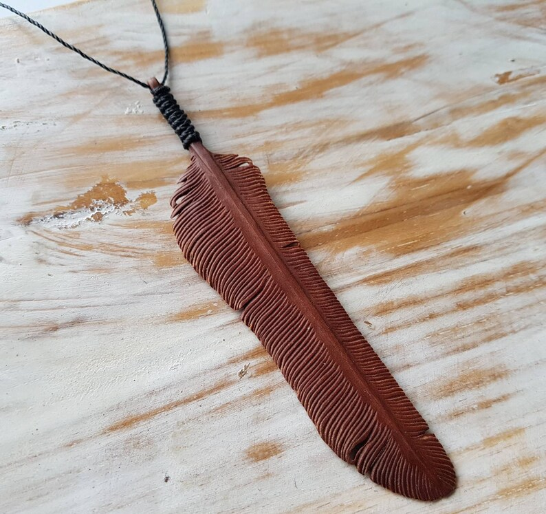 Feather Necklace Hand Carved Rosewood Size Medium Flight image 0