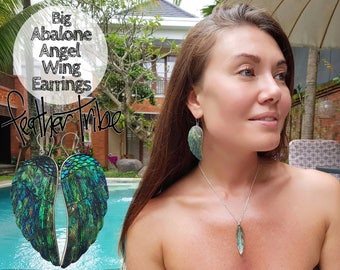 Big Abalone Angel Wing Earrings - with Sterling Silver - Hand Carved Paua Shell - Feather Tribe
