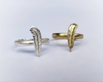 Feather Ring - Egyptian Feather - Elegant Ring-  Boho Ring - Golden Brass or Silver Filled - Adjustable Size - Feather Tribe