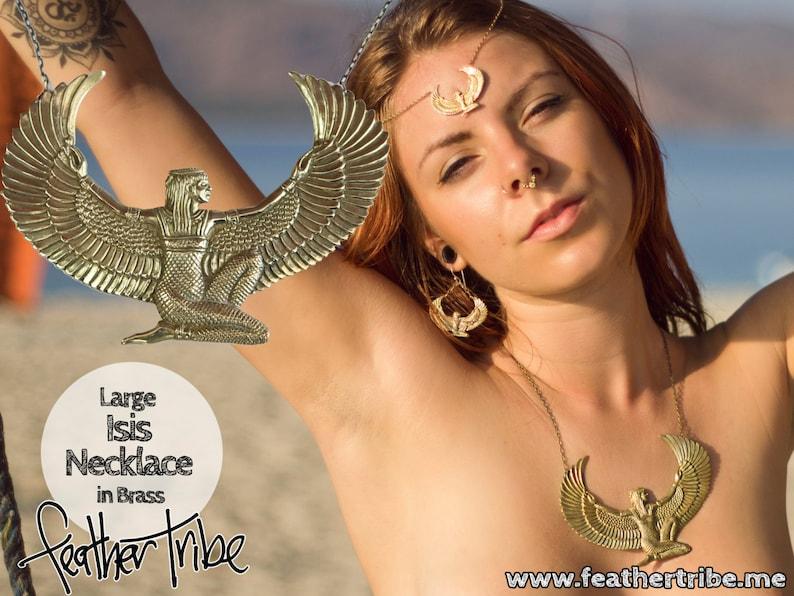 Large brass Isis Goddess Necklace Auset Egyptian Goddess image 0