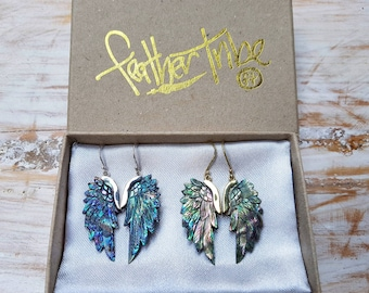 Angels Wing Earrings hand carved from Abalone / Paua shell and finished in Brass or Silver- Superwing style - Size Mini - Feather Tribe