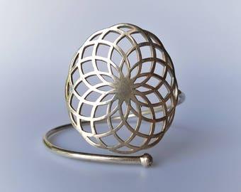 Tube Torus Armband - Sacred Geometry Arm Band -Golden Brass or Silver - Spiritual Jewelry - Harmony Armband -One Size - Feather Tribe