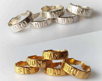 """Family """"I AM"""" Ring - Unity Ring - Golden Brass or Silver Filled - Adjustable Size - Feather Tribe"""