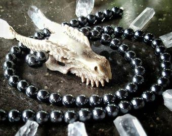 Dragon Skull Necklace- Hand Carved- Naturally Shed Antler Necklace - Hematite - Black Onyx - Tigers Eye - Black Lava- Premium -Feather Tribe